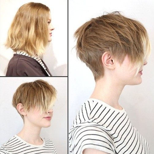 Feminine Playful Short Haircut With Long Bangs For Women