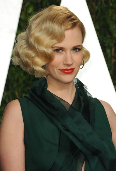 January Jones Short Wavy Hairstyle for prom