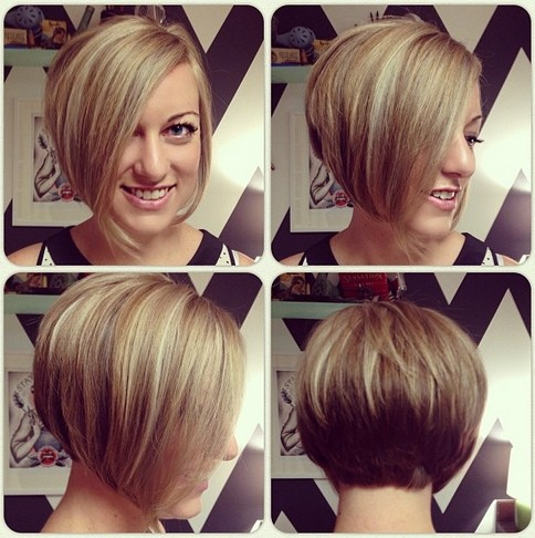 Picture of Short Asymmetrical Bob Haircut with long side swept bangs ...