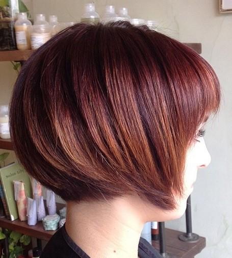 Short Chin Length Dark Red Bob Hairstyle