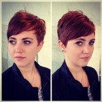 Short Layered Red Pixie Cut with Side Swept Bangs