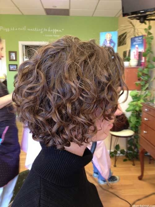 Loose Curly Bob Hairstyle For Short Hair Side View
