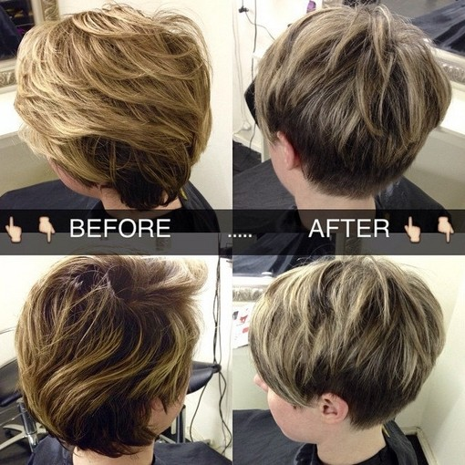 Short hairstyle for medium to thick hair