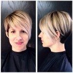 Short layered haircut with bangs for women