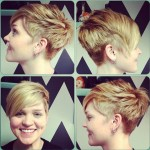 Short layered pixie cut with side swept bangs for girls