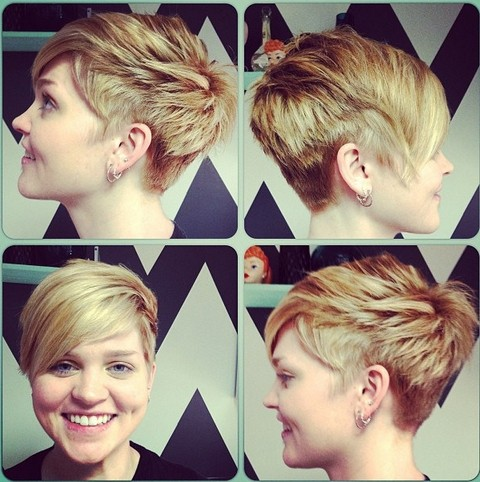 cool short layered pixie cut with long side swept bangs
