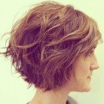 Side View of Shaggy Bob Hairstyle for Women with Thick Hair