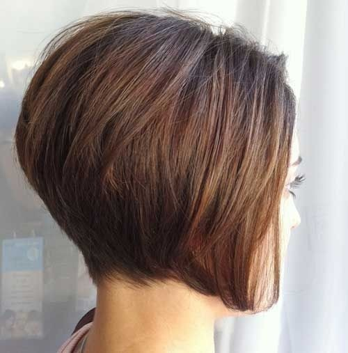 Side view of stacked bob haircut