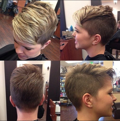 What girl hair cut short and shaved remarkable