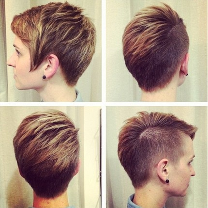 Female short haircut shaved head