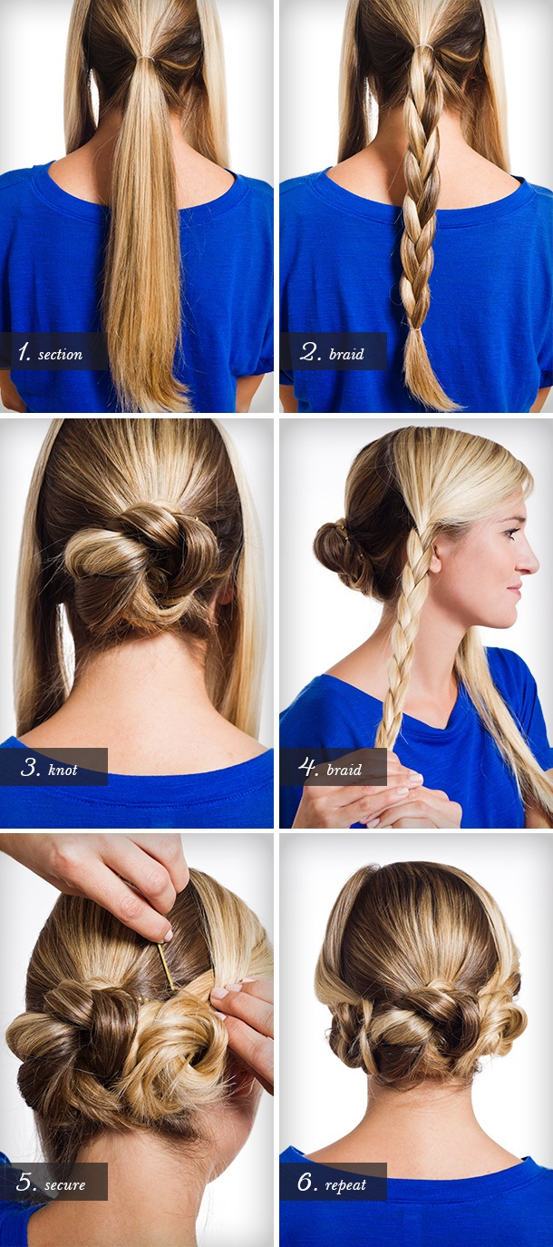 pretty triple braided bun for long hair