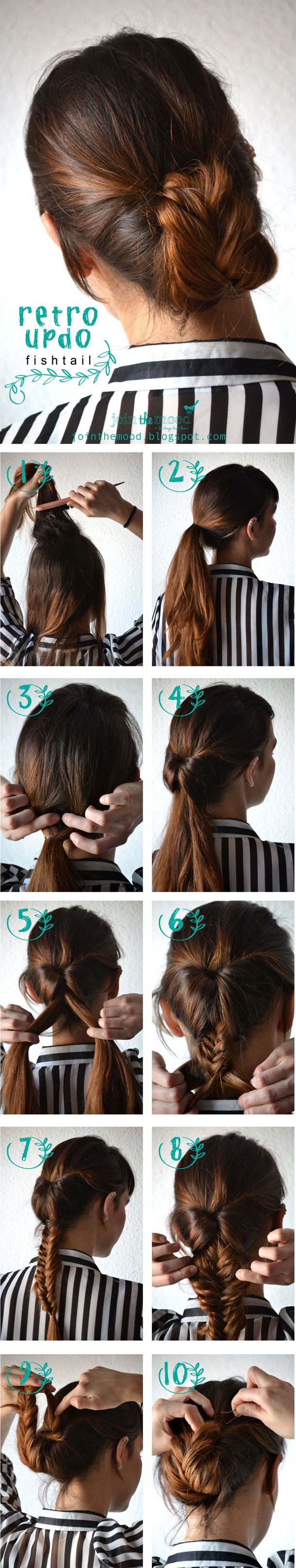 retro updo fishtail braid for prom