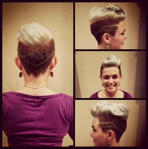 swept-back quiff hairstyle for women