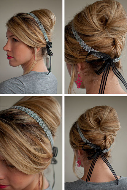 Classic beehive updo with ribbon headband