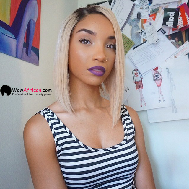 Beyoncé inspired asymmetrical bob hairstyle for thin hair