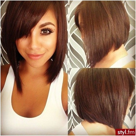 Cute Side view of asymmetrical bob hairstyle with side swept bangs