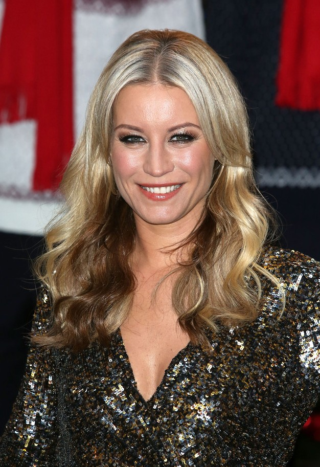 Denise van Outen side parted long ombre hair for women over 40