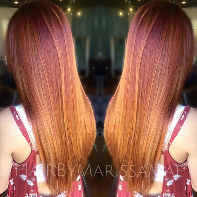 Fiery Sunset Color Melt Hair Color Ideas Hairstyles Weekly