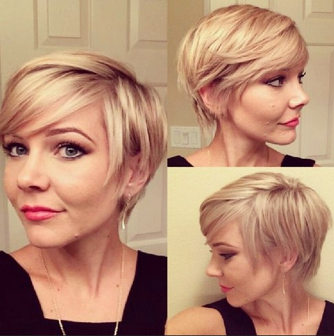 Layered Short Pixie Cut With Side Swept Bangs For Fine Hair