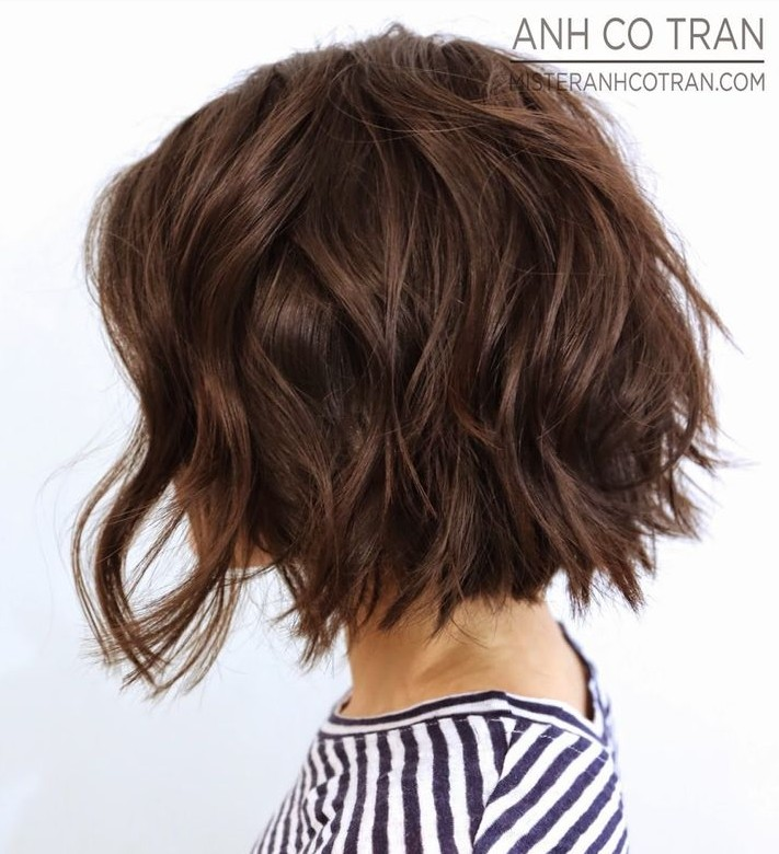 Side View of Short Wavy Bob haircut