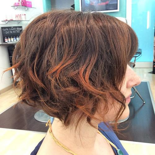 Side View of messy wavy curly bob hairstyle