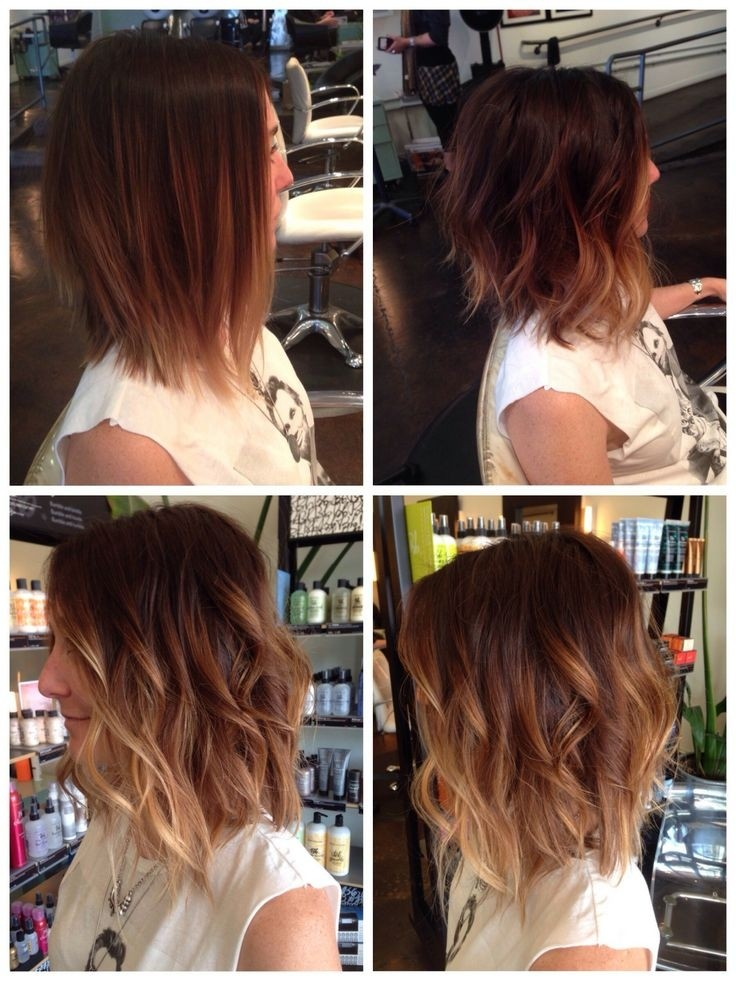 Messy bob - Tousled ombre bob cut for medium thick hair