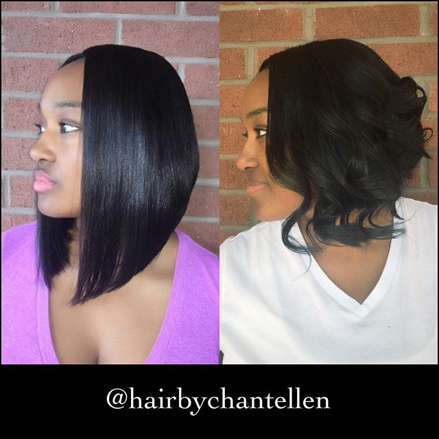 Trendy short black curly bob hairstyle for African American women