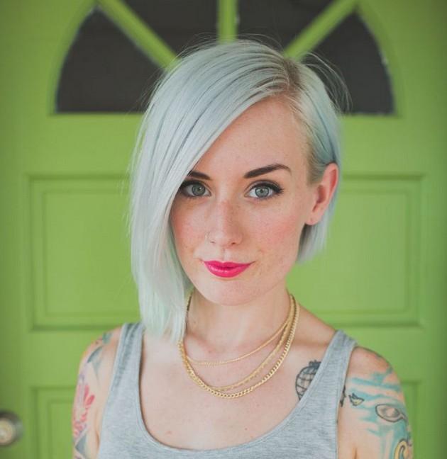 Trendy short straight asymmetrical bob haircut for women