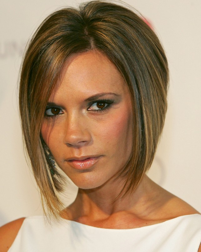 Victoria Beckham Asymmetrical Bob Haircut for Short Hair