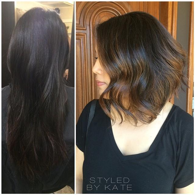 short ombre wavy bob hair style for women