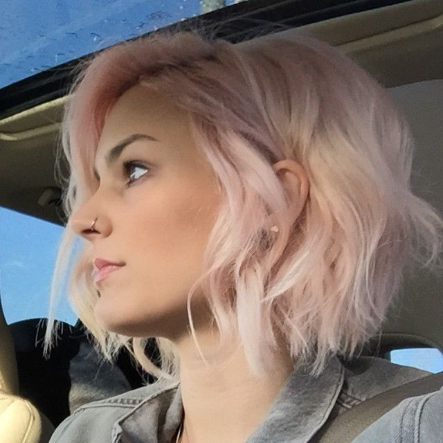 short pink bob haircut