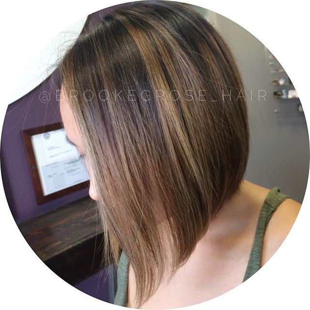 A-line Bob Hairstyle with highlights