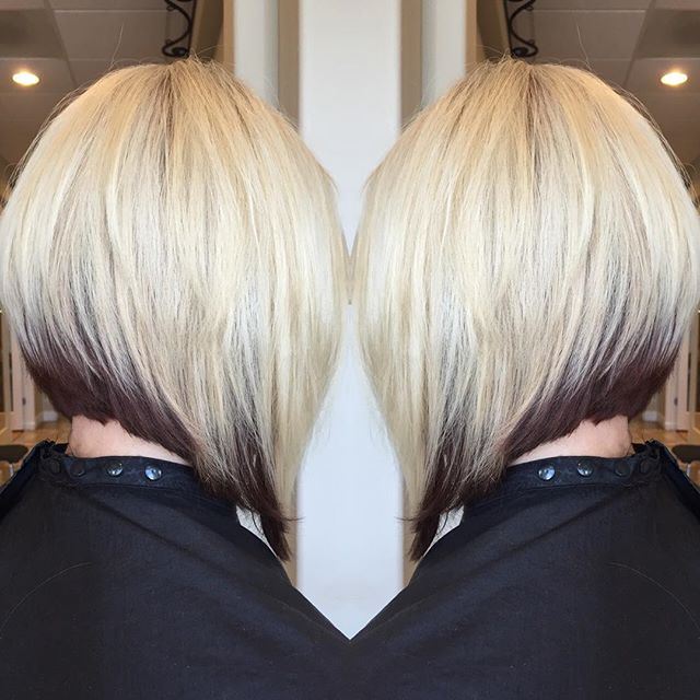Layered a-line bob hairstyle with dark roots