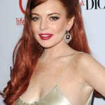 Lindsay Lohan red curly hairstyle for round face shapes