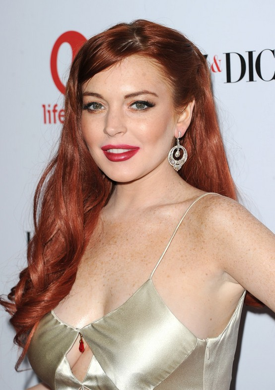 Lindsay Lohan Long Red Curly