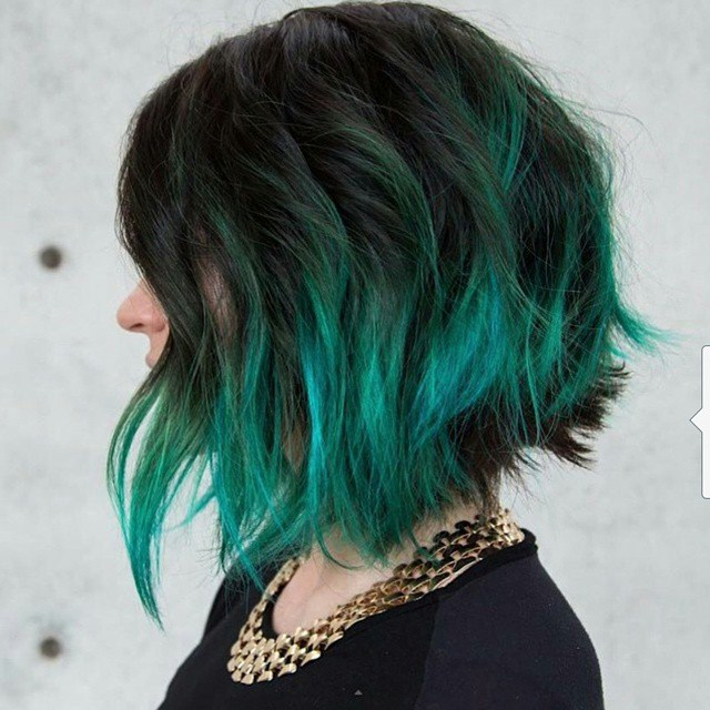 Messy dark to green ombre Bob Hairstyle