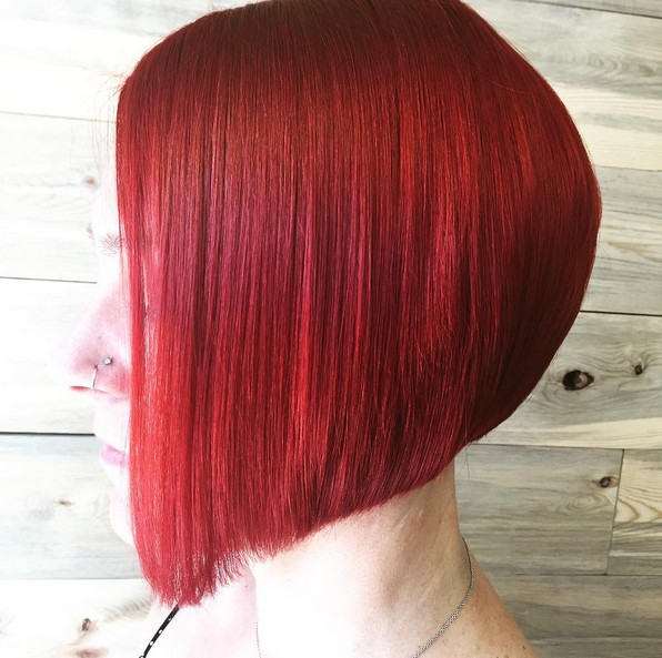Redhead - red a-line bob hairstyle