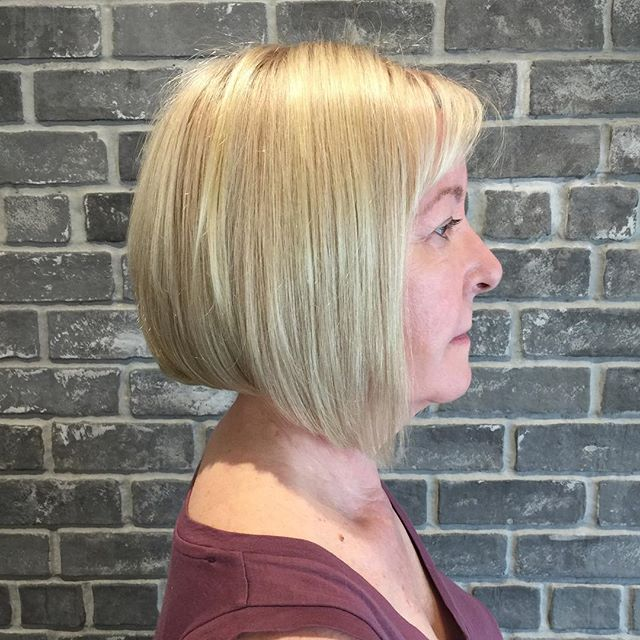 Short Blonde Angled Bob Hairstyles for Women over 50