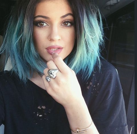 pastel hair color - Short dark to blue ombre bob hairstyle for women