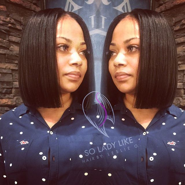 Short straight blunt bob haircut for black women