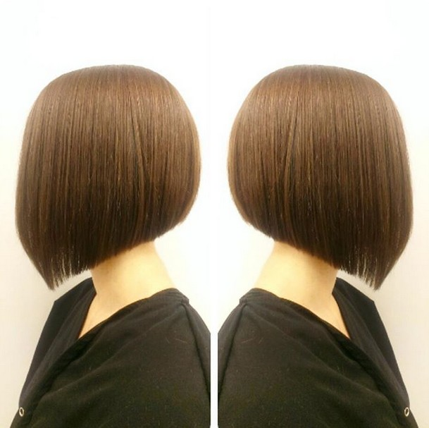 Side view of cute short angled bob haircut