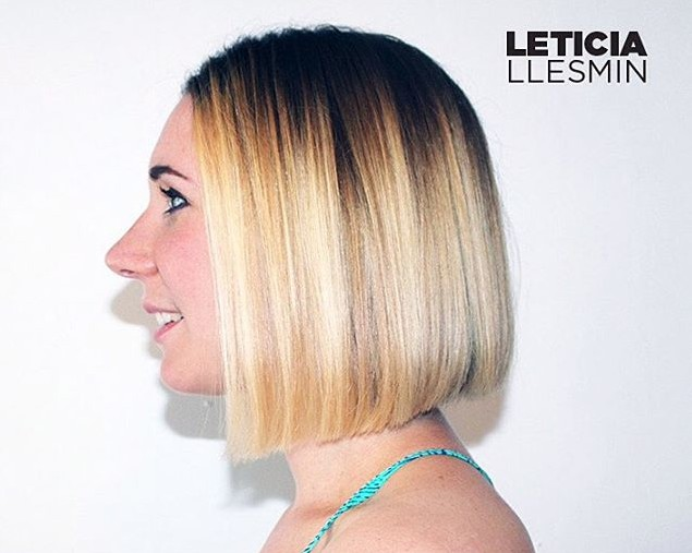 Simple short blunt bob hair style - side view