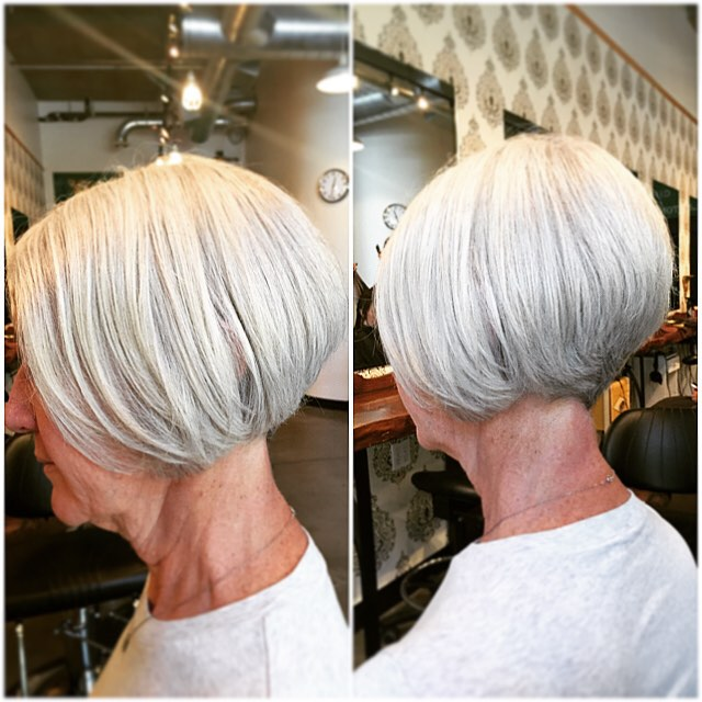 Stacked Blonde Bob Hairstyles for women over 50 60