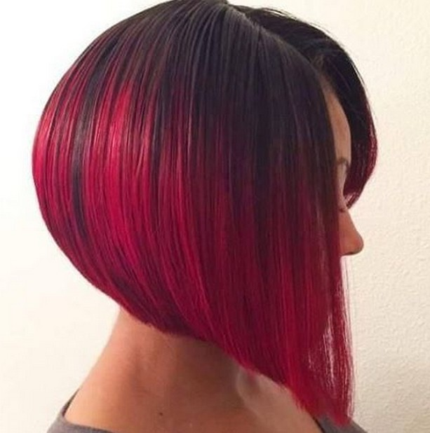 Strange Angled Dark To Red Ombre Bob Hairstyle Hair Color Hairstyles Weekly Natural Hairstyles Runnerswayorg