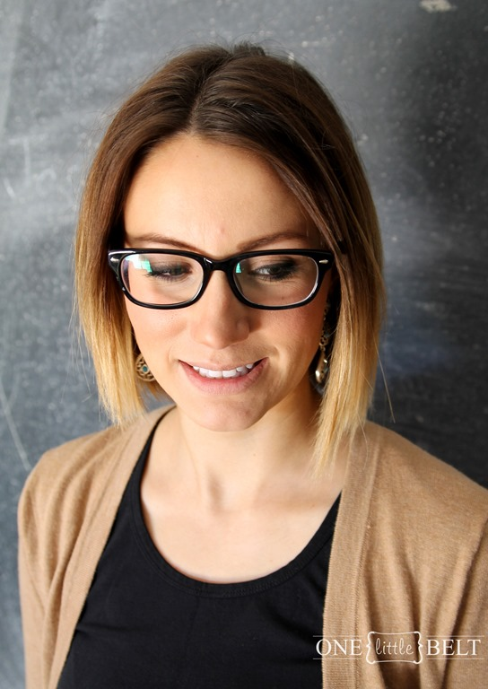 chic short ombre bob hairstyle with glasses