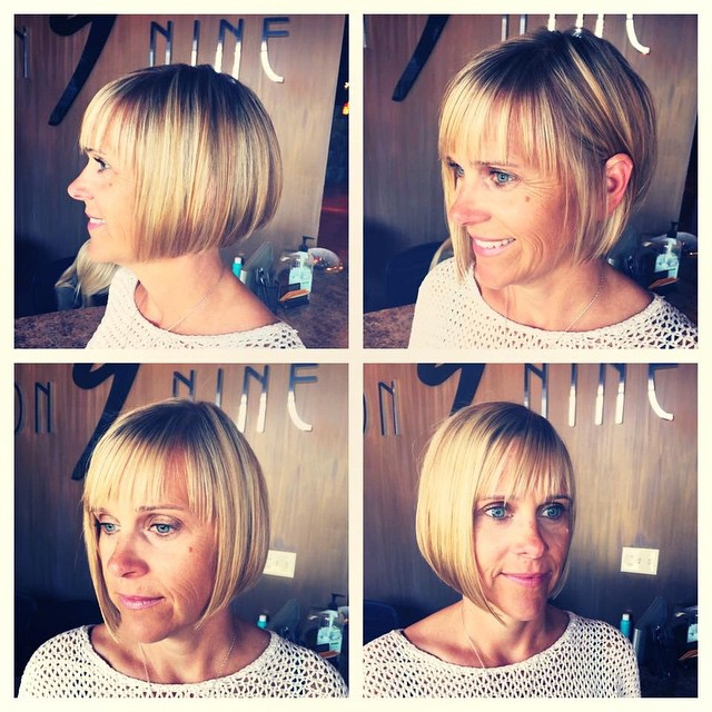 chic straight blunt bob haircut for women over 60 with ...
