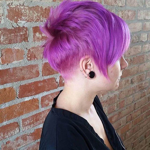 colored short pixie cut purple pixie haircut  bangs