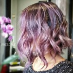 colored wavy bob hairstyle - pastel purple bob haircut with shades