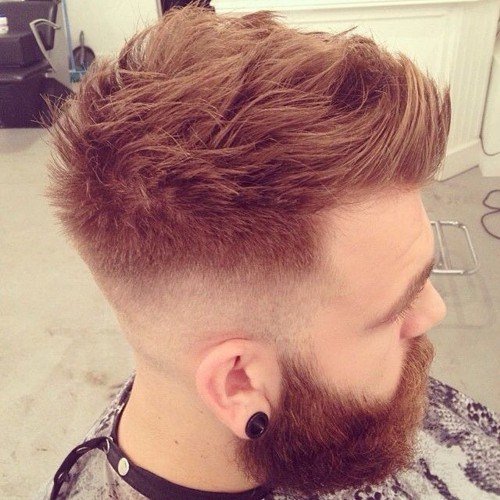 cool copper short faux hawk hairstyle for men