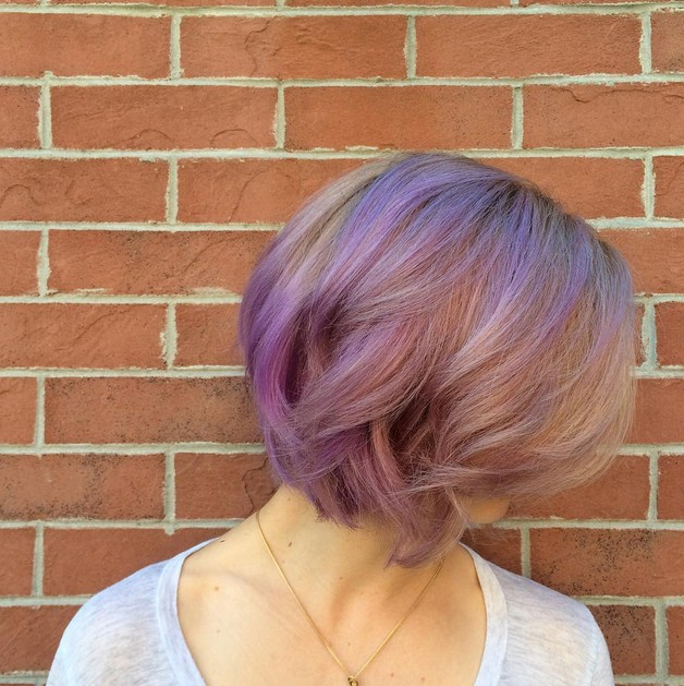 dusty pinks and lavenders - balayage pastel purple hair for short hair